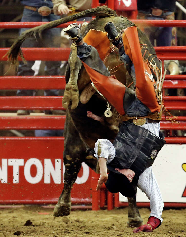 Chris Roundy, of Spanish Fork, Utah, is thrown off his bull in the bull riding event during the San Antonio Stock Show & Rodeo Thursday Feb. 7, 2013 at the AT&T Center. Photo: Edward A. Ornelas, San Antonio Express-News / © 2013 San Antonio Express-News