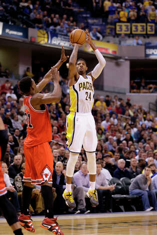 Eastern Conference 3-point Shootout participantPaul George was the 10th overall pick in the 2010 draft. On November 21, 2012 he made nine made three-pointers breaking the franchise record for most three-pointers made in a single game, surpassing Hall of Famer Reggie Miller. Photo: Michael Conroy, Associated Press / AP