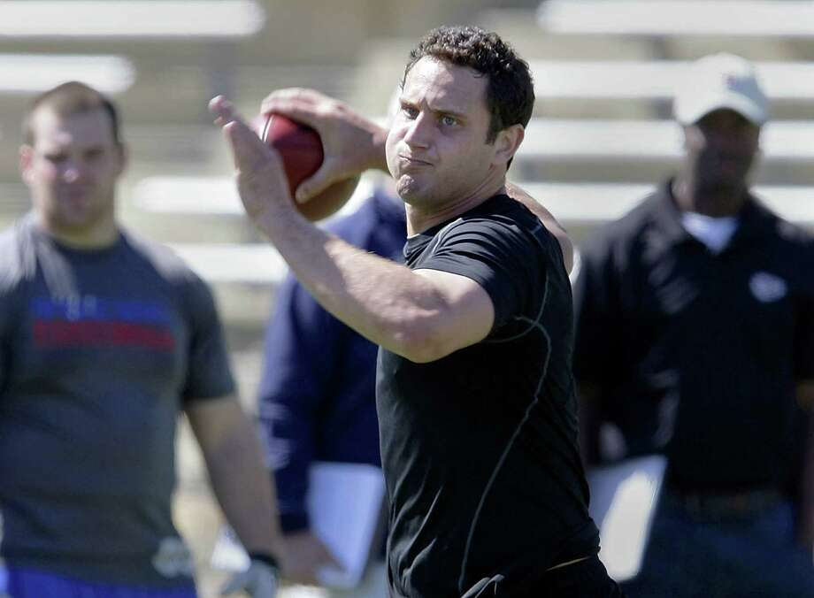 QB G.J. Kinne, taking part in Tulsa's Pro Day last year, was signed as an undrafted free agent by the New York Jets but was cut last summer. He will now try his hand in the AFL as the Talons' signal-caller. Photo: Michael Wyke / Tulsa World