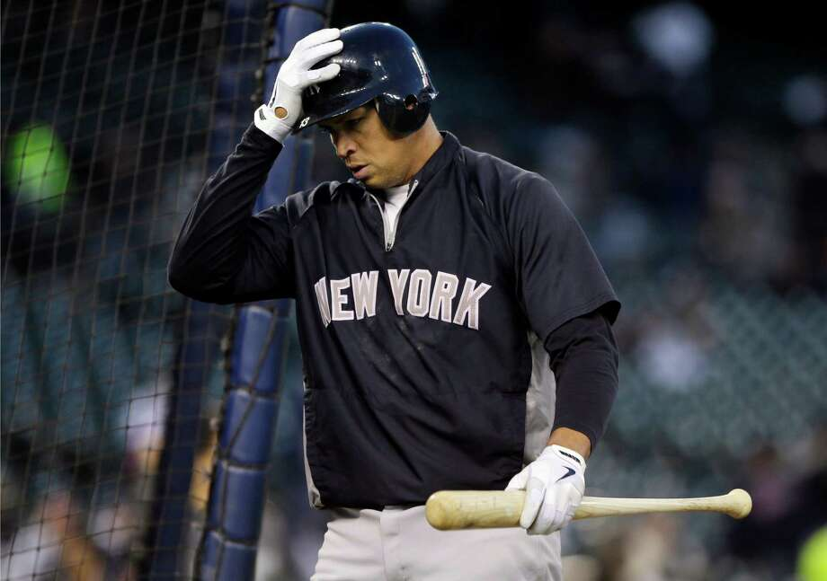 New York Yankees' Alex Rodriguez walks out of the batting cage following batting practice before the start of Game 3 of the American League championship series against the Detroit Tigers Tuesday, Oct. 16, 2012, in Detroit. (AP Photo/Matt Slocum) Photo: Matt Slocum, Associated Press / AP