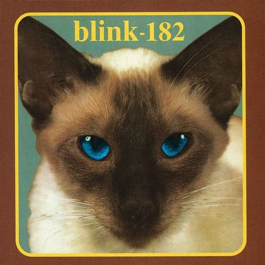 "Blink-182 – ""Cheshire Cat:"" This debut album was released on an independent label and it was later releases brought the band major awards, but this record was part of the punk rock breakthrough that eventually led to Blink-182 becoming a household name in the late 1990s. (Album cover)"