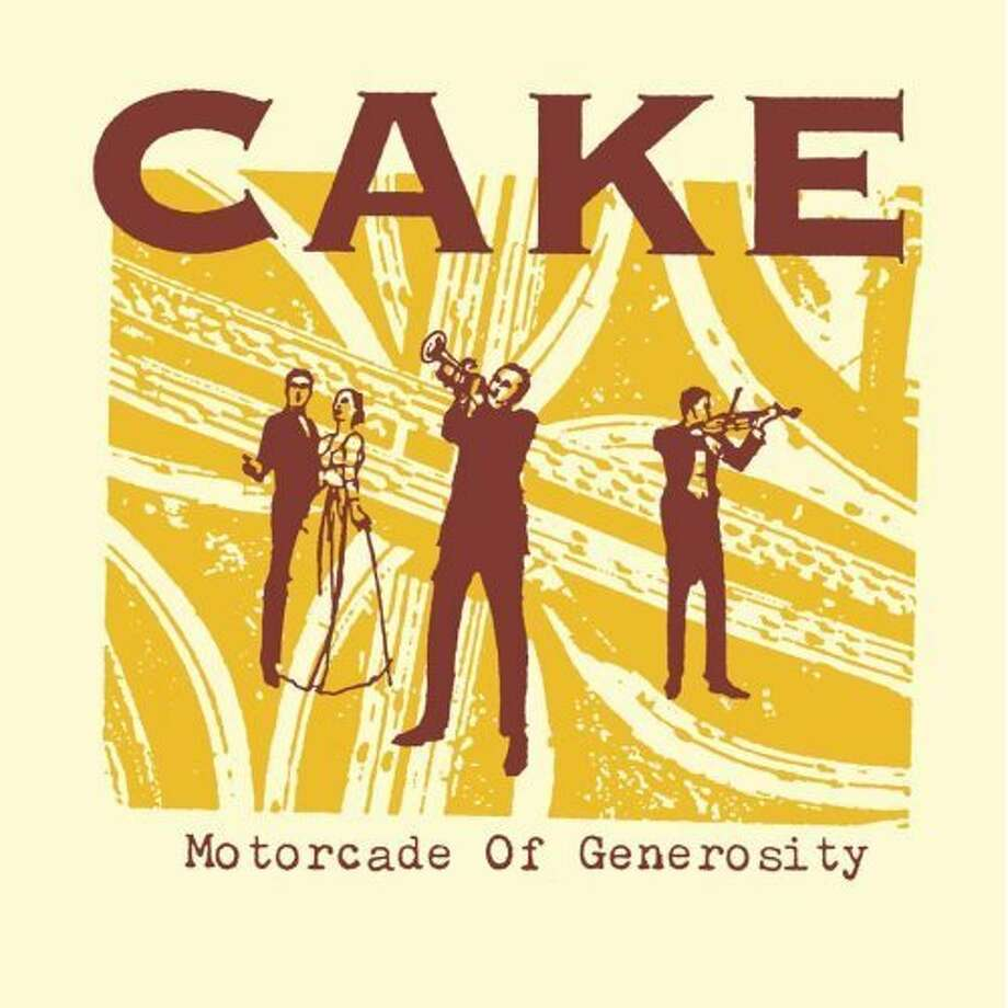 """Cake – """"Motorcade of Generosity:""""Released in Feb. 1994 on the Capricorn label, this debut album included """"Jolene"""" and """"Rock 'N' Roll Lifestyle."""" (Album cover)"""