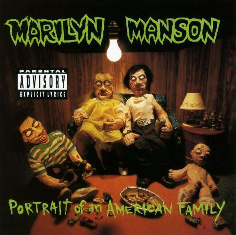 """Marilyn Manson – """"Portrait of an American Family:""""Love him or hate him, Manson has made his mark, and this was his debut full-length studio album. It had three singles and was certified gold nine years after its release. (Album cover)"""