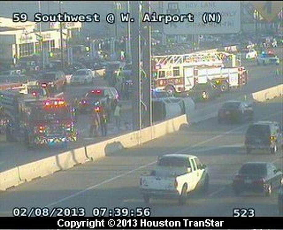 Traffic was slowed on the Southwest Freeway in southwest Houston after a crash during rush hour Friday morning. Photo: Houston Transtar