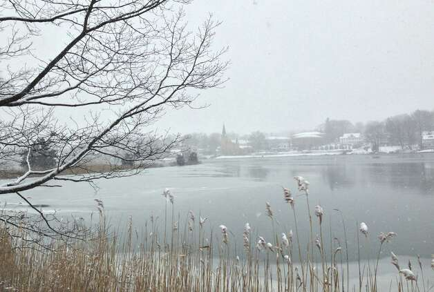 Early snow Friday shrouds this vista of the Saugatuck River.  WESTPORT NEWS, CT 2/8/13 Photo: Paul Schott / Westport News