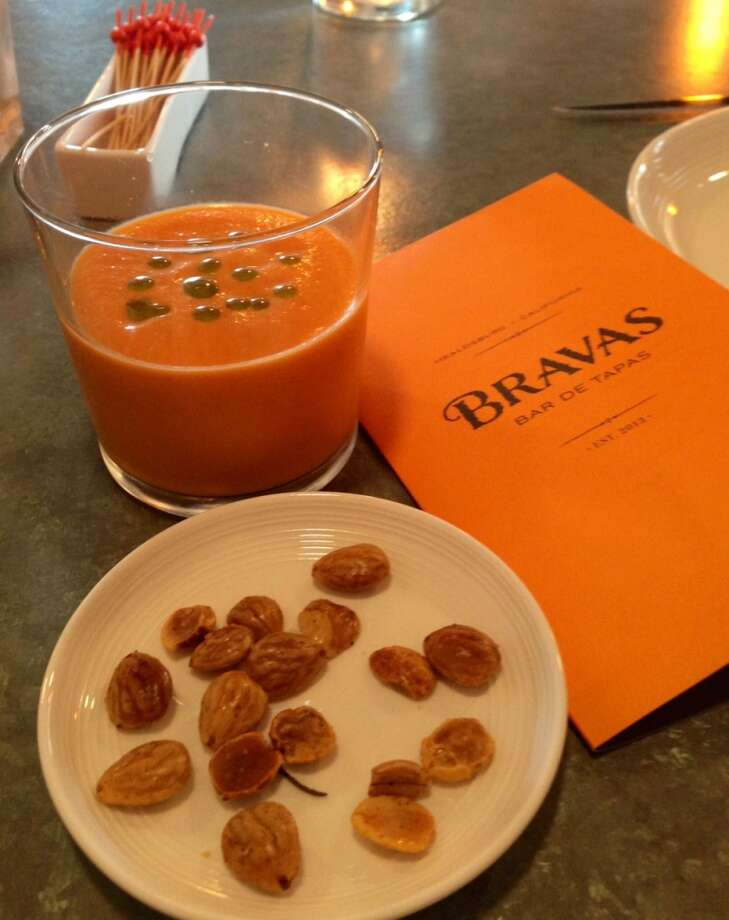 Tomato soup with almonds at Bravas