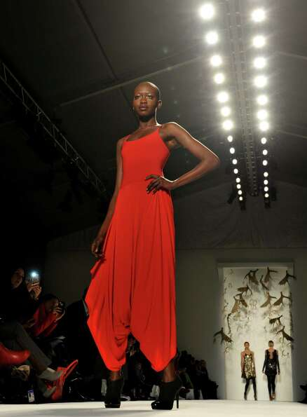 A model wears designs by Czar by Cesar Galindo during the Mercedes-Benz Fashion Week Fall 2013 colle