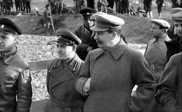 Joseph Stalin overlooks the construction of the Moscow-Volga canal, built in part with slave labor. Tens of millions of Russians, Ukrainians and others were killed during his three-decade reign of terror.