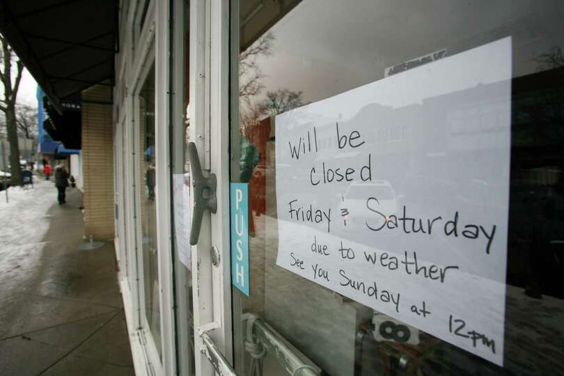 A shop on Greenwich Avenue had is already closed due to the impending blizzard Friday, Feb. 8, 2013.
