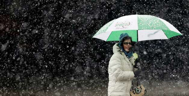 A woman stays dry under an umbrella during a winter storm in Buffalo, N.Y., Friday, Feb. 8, 2013. In some upstate areas, snow fell early Friday morning and was expected to increase throughout the day, with the heaviest accumulations expected in eastern New York on Friday night. Photo: David Duprey