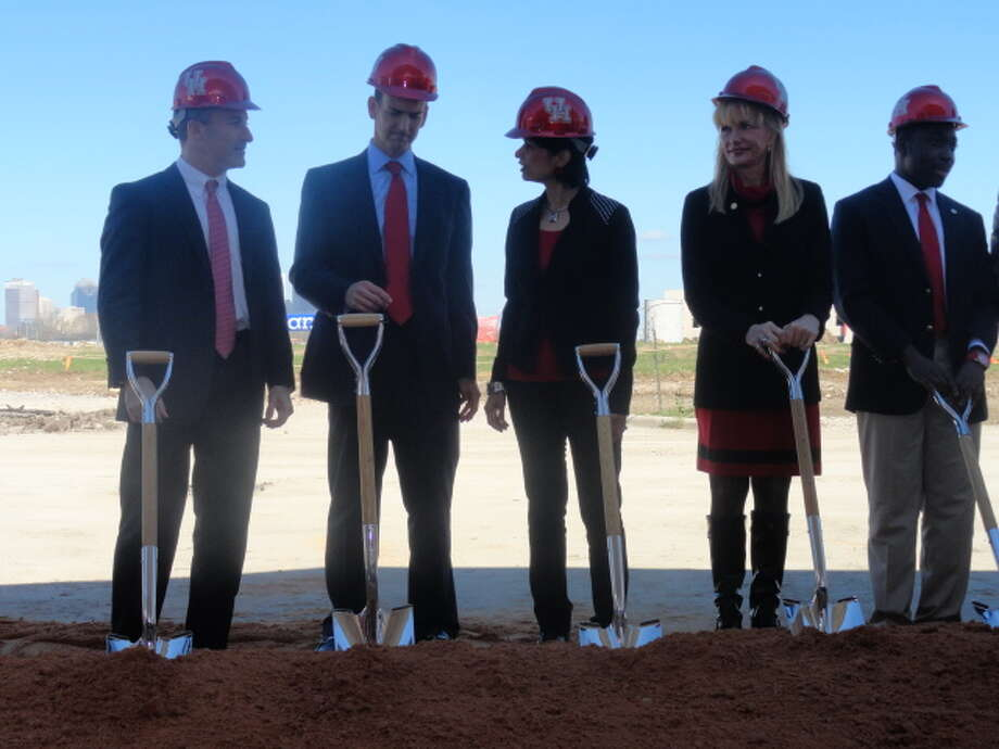 UH president Dr. Renu Khator and athletic officials break ground on the new on-campus.