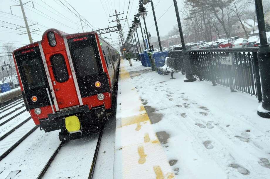 Metro-North heads into Darien Train Station during Friday's snow storm. Megan Spicer / Staff photo  Feb. 8, 2013 Photo: Contributed Photo