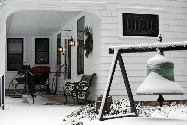 Snow falls at the Trumbull Historical Society, in Trumbull, Conn., Feb. 8th, 2013. Photo: Ned Gerard / Connecticut Post