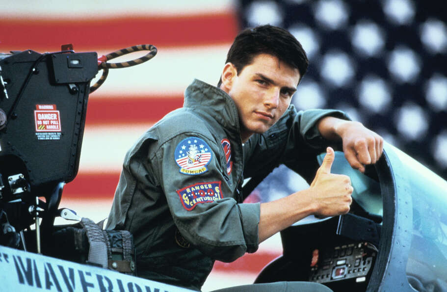 "Tom Cruise played the cocky, daredevil pilot ''""Maverick,""'' a genius at F-14s and volleyba"