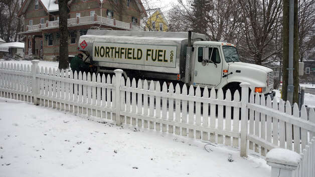 A last minute delivery to a home on Washington Avenue from Northfield Fuel as a blizzard moves into Greenwich, Conn., Feb. 8, 2013. Photo: Keelin Daly / Keelin Daly