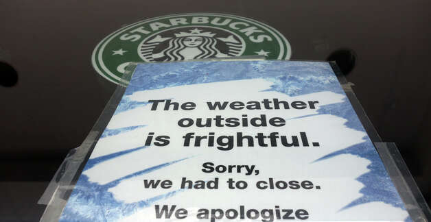 Starbucks on East Putnam Avenue closes shop as a blizzard moves into Greenwich, Conn., Feb. 8, 2013. Photo: Keelin Daly / Keelin Daly