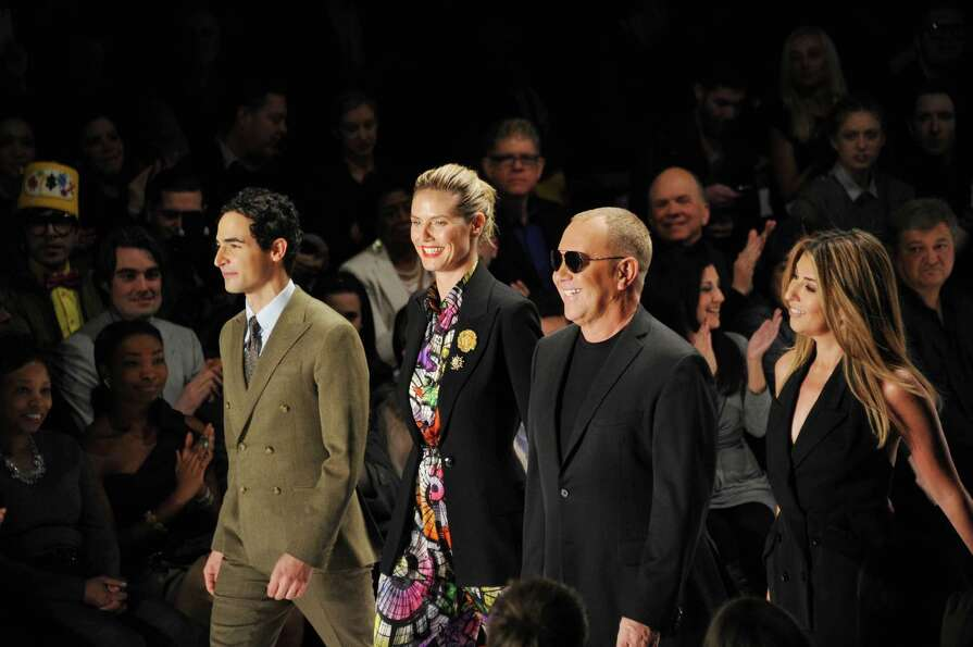 Zac Posen, Heidi Klum, Tim Gunn and Nina Garcia walk the runway at the Project Runway Fall 2013 fash