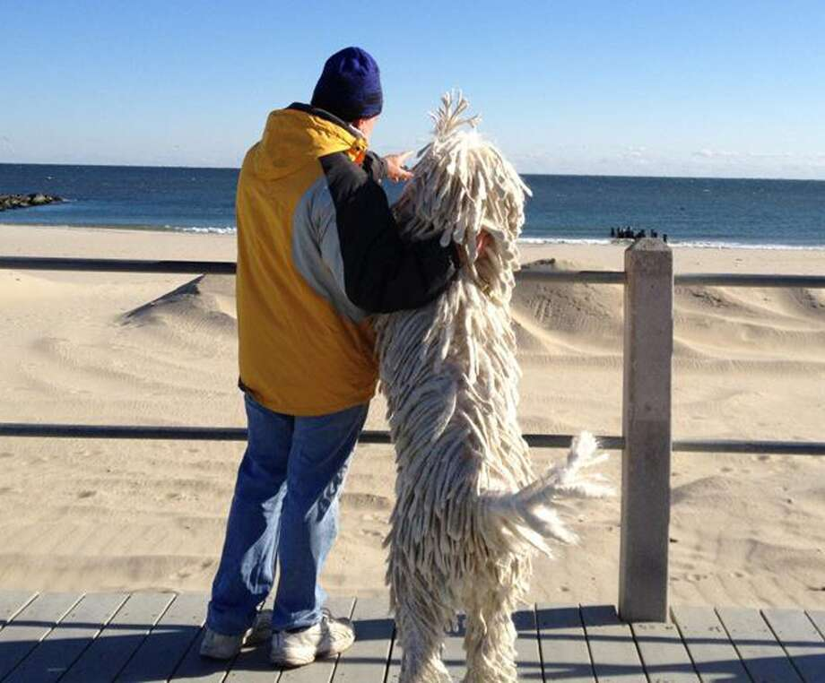 Scott Wilczewski and his dog Chauncey, a komondor, look out over the beach along the New Jersey shore. Photo: HOEP / Wilczewski Famoly
