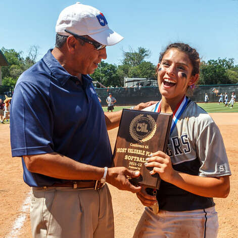 Smithson Valley's Kellen Roibles reacts as she receives the Most Valuable Player award following their 4A state final game with Montgomery at McCombs Field in Austin on June 2, 2012.  Smithson Valley won the game 9-8.  MARVIN PFEIFFER/ mpfeiffer@express-news.net