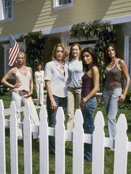 A primetime soap with a truly contemporary take on happily every after, this new hour- long drama takes a darkly comedic look at suburbia, where the secret lives of housewives aren't always what they seem. Desperate Housewives stars (from left) Nicollette Sheridan as Edie Britt, Felicity Huffman as Lynette Scavo, Marcia Cross as Bree Van De Kamp, Eva Longoria as Gabrielle Solis, Teri Hatcher as Susan Mayer and Brenda Strong (background) as Mary Alice Young. Photo: MOSHE BRAKHA, ABC / ABC, INC.
