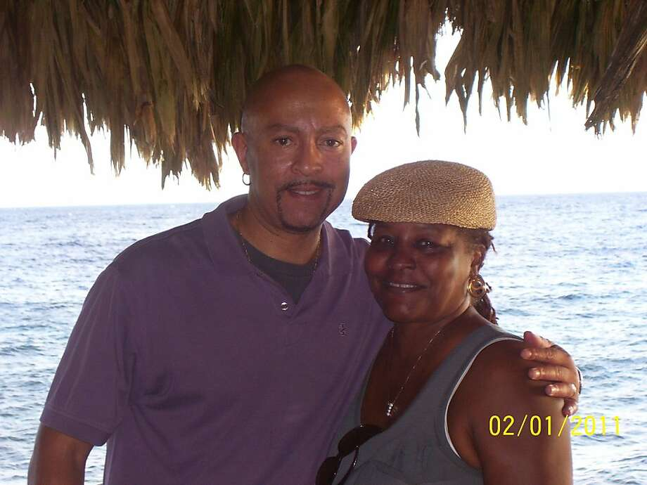 Eldridge and Vanessa Johns at the Grill King seaside restaurant in Punda. Photo: Courtesy Eldridge Johns