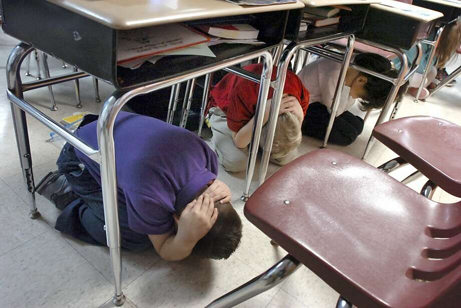 Your desk can keep you safe from an earthquake:At least from one of those Indiana earthquakes. (Second-graders take cover at Kendall Elementary School during an quake drill in Marion, Ind.) Photo: Jeff Morehead, Associated Press