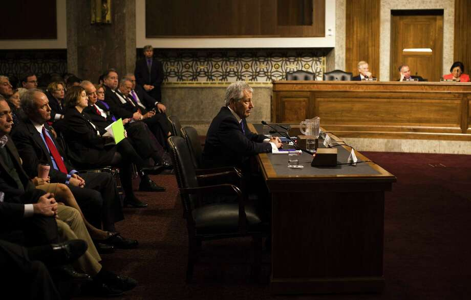Some readers wonder if former Sen. Chuck Hagel, shown here at his confirmation hearing for secretary of defense, is the right man for the job. Photo: Christopher Gregory, New York Times