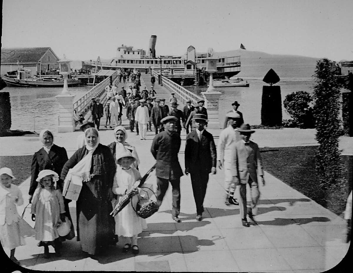 Immigrants arriving at Angel Island c.1920.