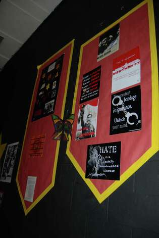 Holocaust exhibit at Henderson Middle School is a tribute to the millions of people who lost their lives under the reign of Nazi Germany. Photo: Jay Cockrell