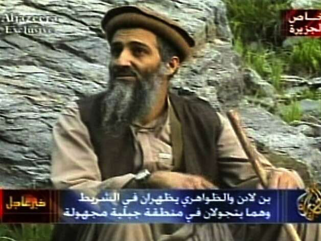 Osama bin Laden, in an image aired in 2003, is believed by many to be in Waziristan, on the border of Afghanistan and Pakistan. Bin Laden would often send his videos to be aired on the Al Jazeera satellite channel. Photo: Tel, AP