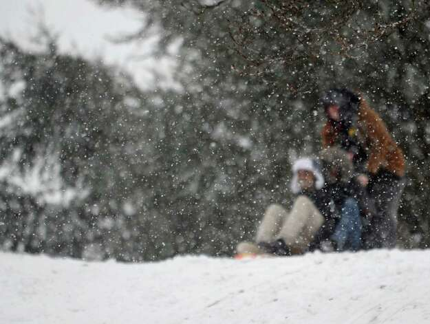 Snow falls on sledders in Cummings Park during Friday's blizzard in Stamford, Conn., on February 8, 2013. Photo: Lindsay Perry / Stamford Advocate