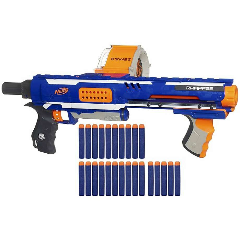 Rampage, a toy gun from Nerf that shoots foam darts, is the type of toy that has some people concerned. Photo: Handout, New York Times