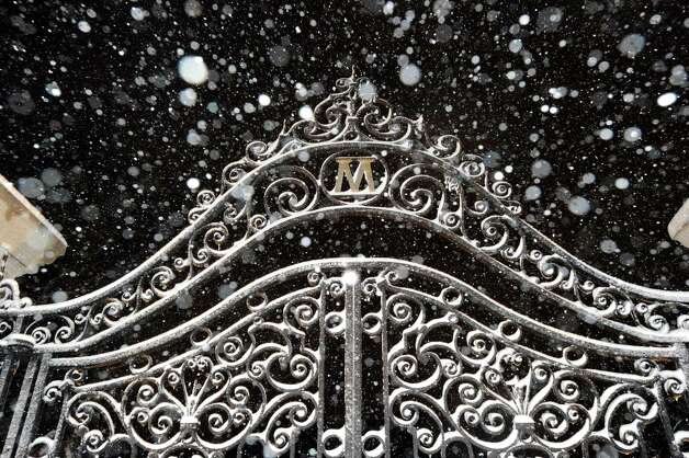 Snow accumulates on an iron gate off of East Putnam Avenue during the snowstorm that hit Greenwich, Conn., Friday, Feb. 8, 2013. Photo: Bob Luckey / Greenwich Time