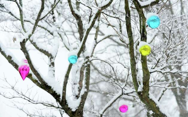 Ornaments decorate snow covered branches in a South Pine Creek yard in Fairfield, Conn. on Friday, Feb. 8, 2013. According to the National Weather Service, southern Fairfield County could get 10 to 14 inches. Photo: Cathy Zuraw / Connecticut Post