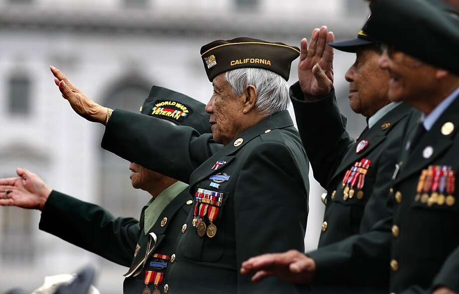 Filipino veterans of World War II attend San Francisco's annual Veterans Day parade on Market Street in November 2011. Photo: Michael Macor, The Chronicle