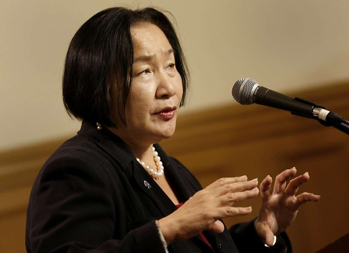 Mayor Jean Quan talked of a citywide reorganization that would make the redevelopment cuts not as painful. Oakland officials including Mayor Jean Quan presented an amended policy budget to balance the city budget following the loss of Redevelopment funding Monday January 23, 2012.