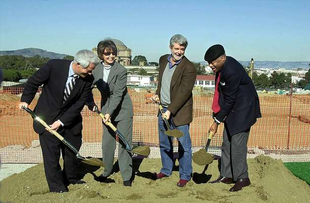 LUCAS09-C-08FEB03-MT-KR The Groundbreaking Ceremony for the Letterman Digital Arts Center. Toby Rosenblatt,Chairman,Presidio Trust Board of Directors.Nancy Pelosi,U.S. House of Representatives Democratic Leader.George Lucas, Lucas Films and Willis Brown Mayor . Photo By Kurt Rogers Photo: Kurt Rogers, SFC