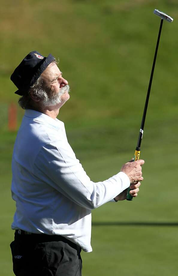 Bill Murray closes his eyes after missing a putt on the 16th hole at Spyglass Hill during the second round of the AT&T Pebble Beach Pro-Am golf tournament. He also wowed the crowd. Photo: Michael Macor & Lance Iversen, The Chronicle