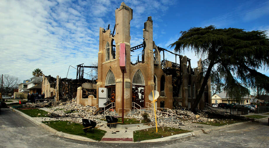 The shell of the exterior is all that remains of the Childress Memorial Church of God in Christ on North Pine Street. The historic church burned on Feb. 1, and is being investigated by a team from the Bureau of Alcohol, Tobacco, Firearms and Explosives. Photo: John Davenport / San Antonio Express-News