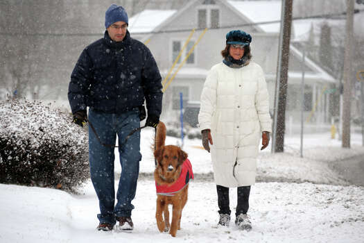 Rob and Jaclyn Rothenberg walk with their dog Sunny as snow begins to fall along Main Street, in Stratford, Conn., Feb. 8th, 2013. Photo: Ned Gerard / Connecticut Post