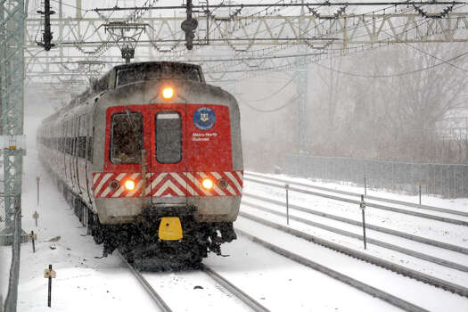 Metro-North trains continue to run in the snow, seen here in Stratford, Conn., Feb. 8th, 2013. Photo: Ned Gerard / Connecticut Post