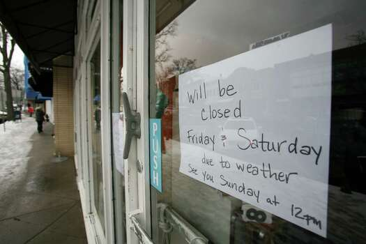 A shop on Greenwich Avenue had is already closed due to the impending blizzard Friday, Feb. 8, 2013. Photo: David Ames / Greenwich Time Freelance