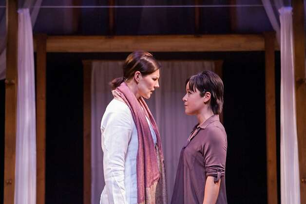 "Raina (Anna Ishida, right) pursues her investigation of spiritual leader Mama Sid (Annemaria Rajala, left) in Tanya Shaffer's ""The Fourth Messenger"" Photo: Mike Padua"