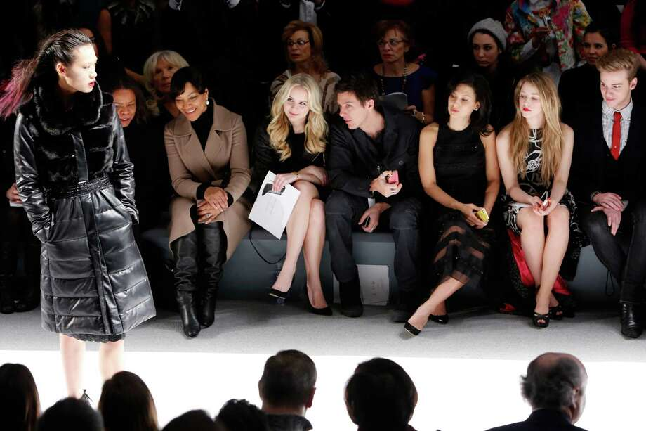 Actors Grace Hightower (from left), Helena Mattsson, Hilaria Baldwin and Ella Rae Peck attend the Carmen Marc Valvo Fall 2013 fashion show during Mercedes-Benz Fashion Week at The Stage at Lincoln Center on February 8, 2013 in New York City. Photo: Cindy Ord, Getty Images For Carmen Marc Valvo / 2013 Getty Images