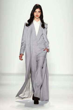 A model walks the runway at the Noon By Noor Fall 2013 fashion show during Mercedes-Benz Fashion Week at The Studio at Lincoln Center on February 8, 2013 in New York City. Photo: Frazer Harrison, Getty Images For Mercedes-Benz Fashion Week / Getty Images