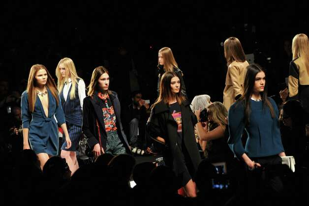 Models walk the runway at the Rebecca Minkoff Fall 2013 fashion show during Mercedes-Benz Fashion at The Theatre at Lincoln Center on February 8, 2013 in New York City. Photo: Photo By Mike Coppola, Getty Images For Mercedes-Benz Fashion Week / Getty Images