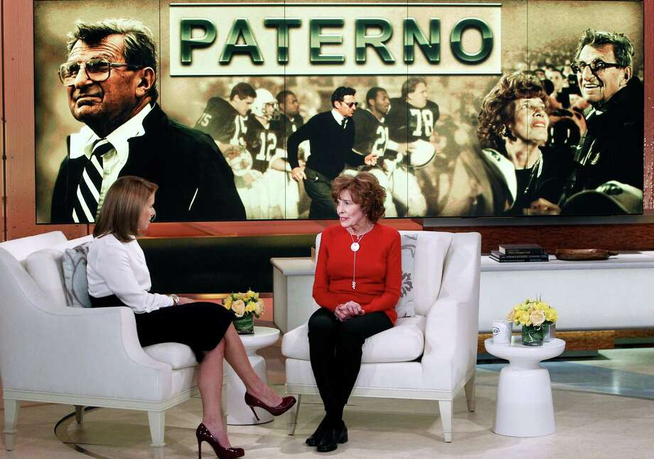 "This Feb. 6, 2013 photo released by ABC shows Sue Paterno, widow of legendary football coach Joe Paterno, right, with Katie Couric for an exclusive interview for the ""Katie"" show in New York. Paterno is fighting back against the accusations against her husband that followed the Jerry Sandusky scandal. Her campaign started with a letter sent Friday to former Penn State players. She wrote that the family's exhaustive response to former FBI director Louis Freeh's report for the university on the Sandusky child sex abuse case will officially be released to the public at 9 a.m. Sunday on paterno.com. The interview with Couric will air on Monday, Feb. 11. (AP Photo/Disney-ABC, Lou Rocco) Photo: Lou Rocco"