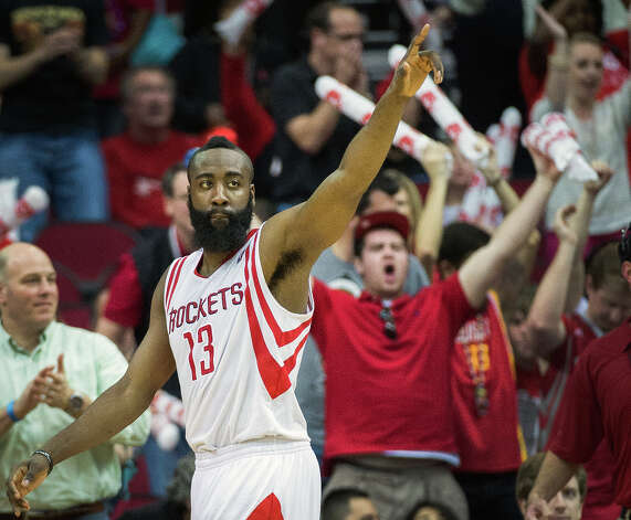 Feb. 8: Rockets 118, Trail Blazers 103Rockets shooting guard James Harden celebrates at the final buzzer. Photo: Smiley N. Pool, Houston Chronicle / © 2013  Houston Chronicle