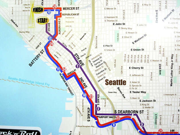 The Seattle Rock 'n' Roll Marathon and Half Marathon courses still begin close to the Space Needle in 2013, but the beginning goes down Fifth Avenue. Photo: Casey McNerthney/seattlepi.com