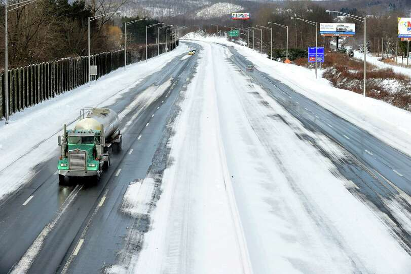 Interstate 84,  looking west, is deserted at morning rush hour in Danbury Saturday, Feb. 9, 2013.